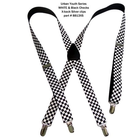 Hold-Ups Urban Youth Black and White Checkered Flag Suspenders X-back No-slip Clips ()