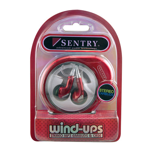 Sentry Earbuds with Windup Case, Red
