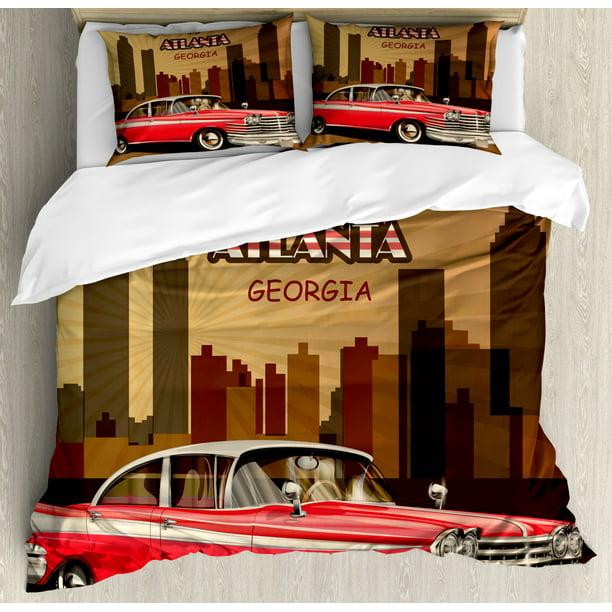 Pillow Shams Dark Cocoa And Multicolor, Old Fashioned Car Bedding