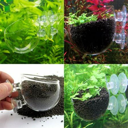 Home Aquarium Fish Tank Glass Plant Pot Bowl Holder Cup Shrimp Aquatic Holder Black Fish Bowl Pot