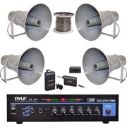 Pyle 120W MICROPHONE PA Mono Amplifier, 11-Inch PA Horn Speakers, Lavalier Wireless Microphone System and 16 Gauge 100 ft. Spool Zip Wire