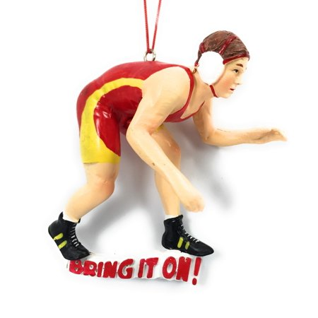 Bring It On Wrestler Natural Resin Stone 4 x 4 Christmas - Halloween's Over Bring On Christmas