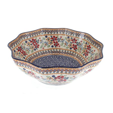 Polish Pottery Red Daisy Medium Decagonal Serving Bowl