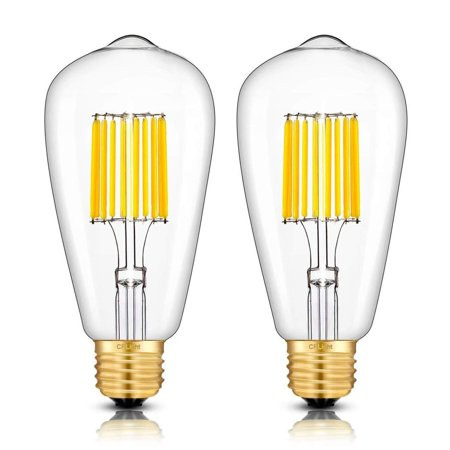 CRLight 10W Dimmable LED Edison Bulb 100W Equivalent 1000LM 3000K Soft White, E26 Medium Base ST64 Antique LED Filament Light Bulbs, Smooth Dimming Version, 2 Pack 10W=3000K(Soft White)-2Pack 100w Ed17 Medium Base