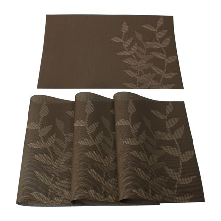 Pattern Placemat (Set of 4 Placemat PVC Cross Woven Washable Table Mat Leaf Pattern Coffee Color )