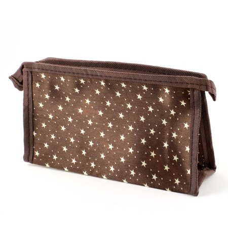 Unique Bargains Polyester Material Zippered Off White Pentagram Dot Prints Brown Cosmetic Makeup Bag (Make Up Materials)