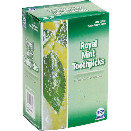 Royal Wrapped Wooden Toothpick, Mint, 1000 ct