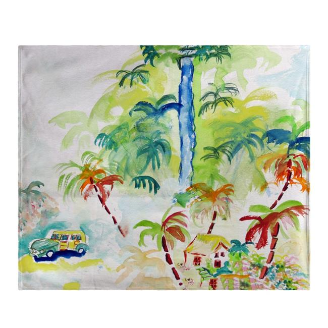 Betsy Drake BK821 Colorful Palms Fleece Throw