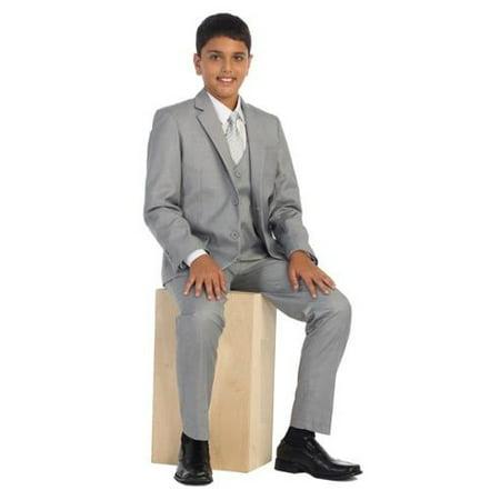 Boys Light Gray Vest Pants Jacket Necktie White Shirt 5 Pcs Suit Set 8-18 (Boys Suits Grey)