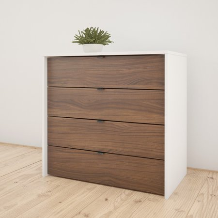 Nexera Identi-T 4 Drawer Chest, White and Walnut