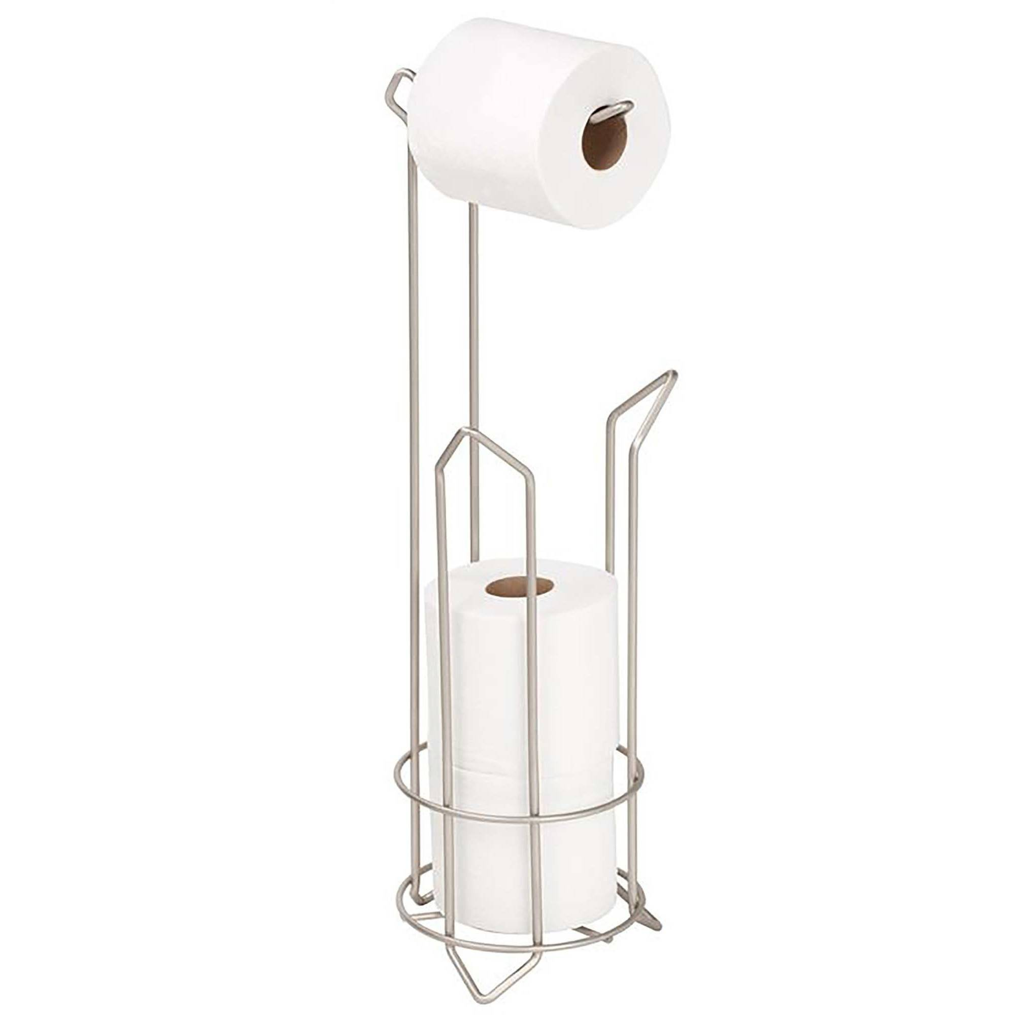 "Click here to buy Bath Bliss Satin Toilet Paper Dispenser Holder, 6.30"" x 6.30"" x 24.02"" by Kennedy International, INC.."