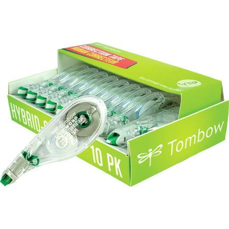 """Tombow Mono Hybrid Style Correction Tape, 1/6"""" x 394"""", Non-Refillable, White, 10-Count"""