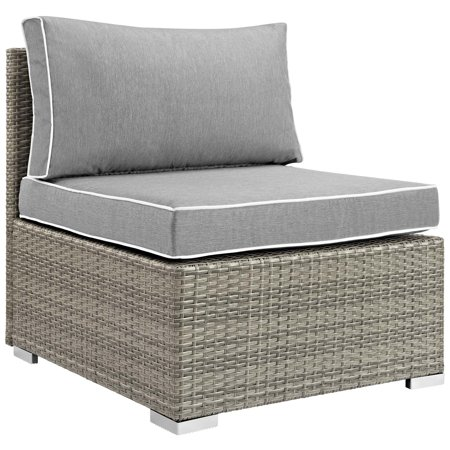 Modern Contemporary Urban Design Outdoor Patio Balcony Garden Furniture Sofa Middle Chair, Sunbrella Rattan Wicker, Grey Gray