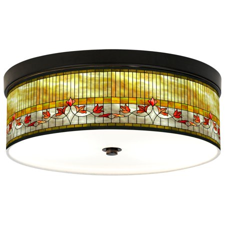 Giclee Gallery Tiffany-Style Lily Energy Efficient Bronze Ceiling Light