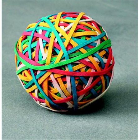 Assorted Rubber Bands (School Smart Economy Rubber Band Ball, Multiple Color)