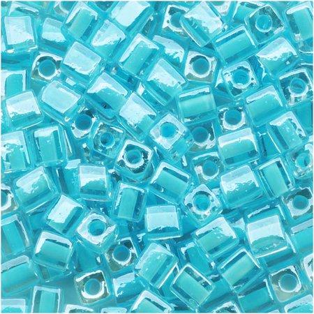 Miyuki 4mm Glass Cube Beads Ice Blue Lined Crystal #220 10 (Ice Blue Lined Crystal)