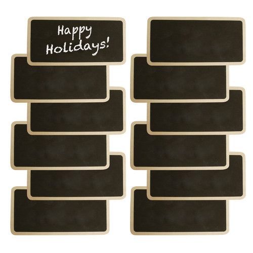 WaldImports Wood Chalkboards with Clothes Pin Clip (Set of 12)