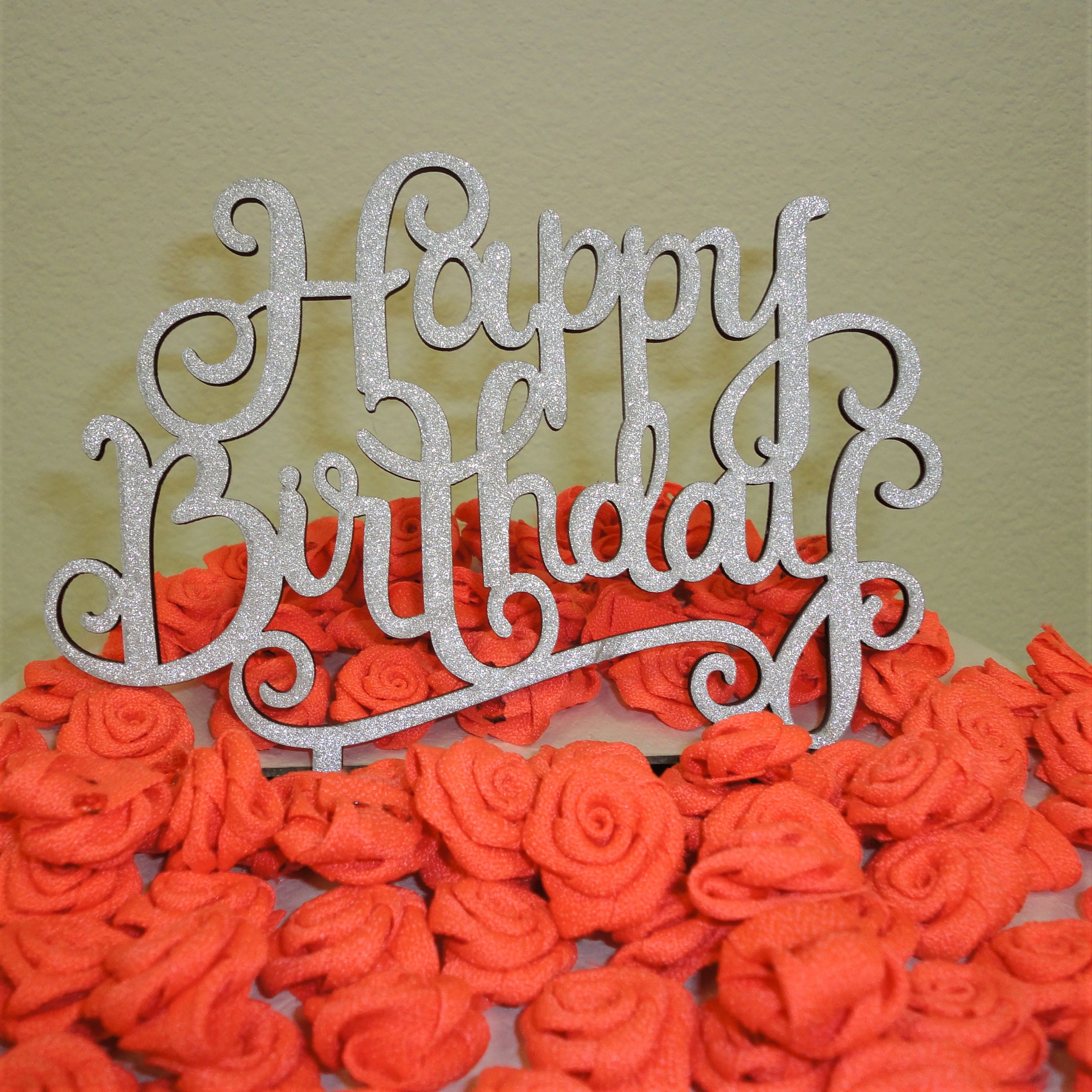 Charmed Happy Birthday Glittered Cake Topper; Silver
