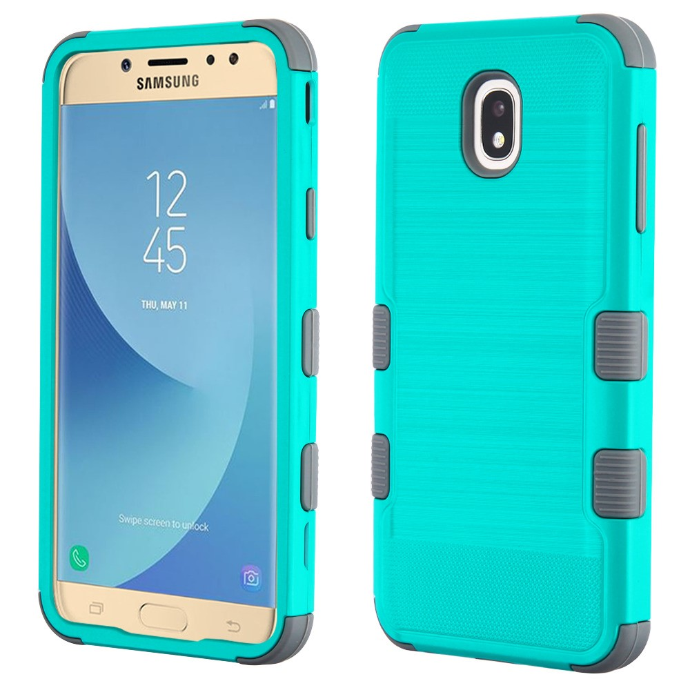 TUFF Hybrid Series Military Grade Certified Metallic Brushed Slate Finish Phone Protector Cover Case and Atom Cloth for Samsung Galaxy J7 Aero - Teal/Gray