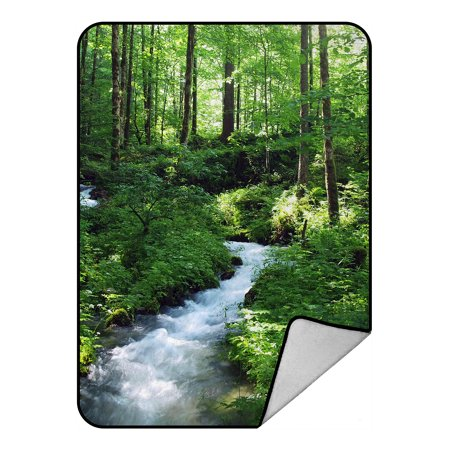 GCKG Clean Stream And Green Forest Fleece Blanket Crystal Velvet Front and Lambswool Sherpa Fleece Back Throw Blanket 58x80inches