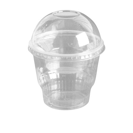 Cup Lids (12oz Clear Plastic Dessert Cups with 4oz Parfait Insert & Lids, 3-piece (100 Count, Dome Lid - No)