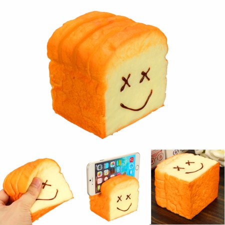 Mini Elastic Environmentally PU Toast Soft Slice Card & Cell Phone Holder Kawaii Bread Hand Vent Toy Gift