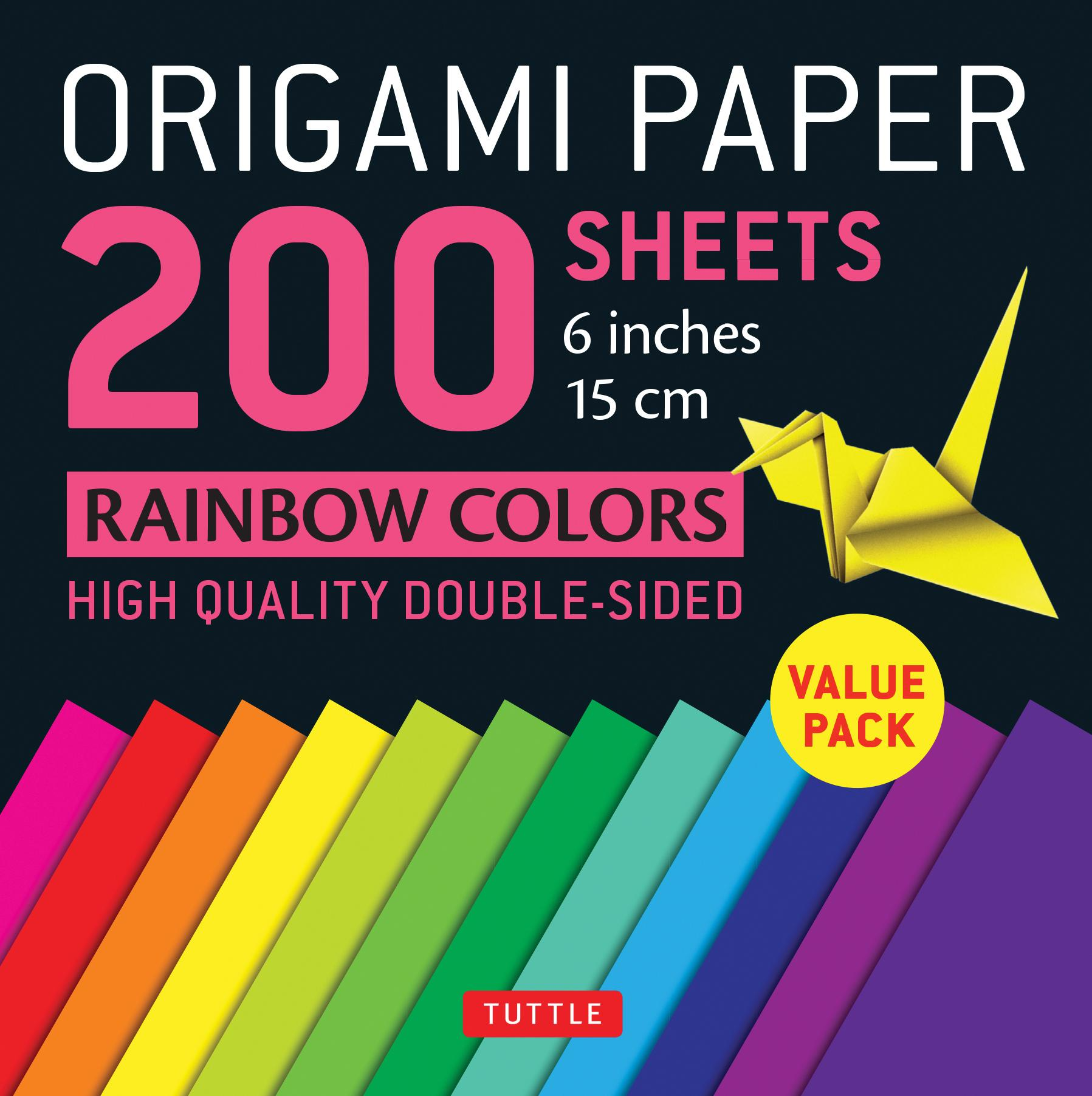 "Origami Paper 200 Sheets Rainbow Colors 6"" (15 CM): Tuttle Origami Paper: High-Quality Origami Sheets Printed with 12 Different Colors: Instructions for 8 Projects Included (Other)"