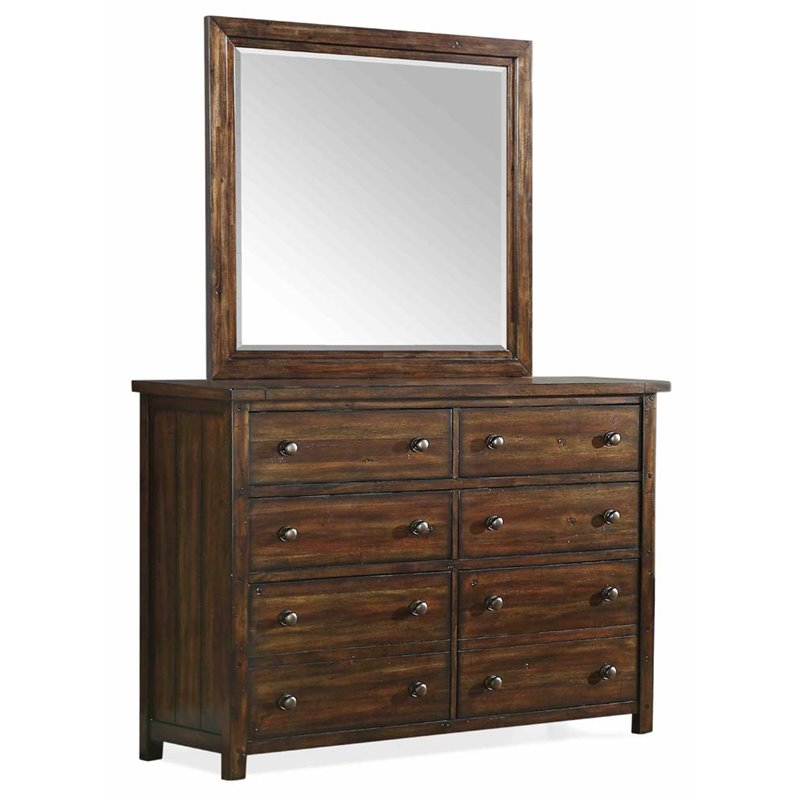 Picket House Furnishings Danner Dresser and Mirror Set in Chestnut