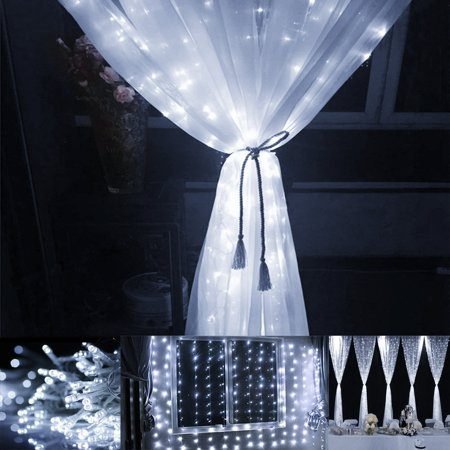 Lighting EVER 9.8*9.8ft LED Curtain Window Lights, Daylight White, 8 Modes, Christmas, Halloween, Wedding, Party Decorative Lights