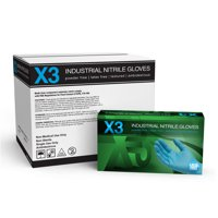 AMMEX X3 Nitrile Latex Free Industrial Disposable Gloves, Small, Blue, 1000/Case