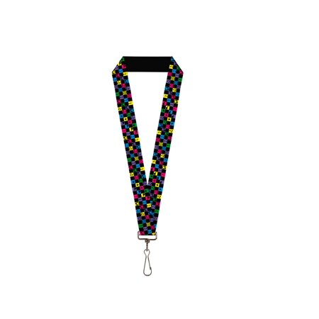 Colorful Music Notes and Stars Checkered Pattern Lanyard - Checkered Lanyards