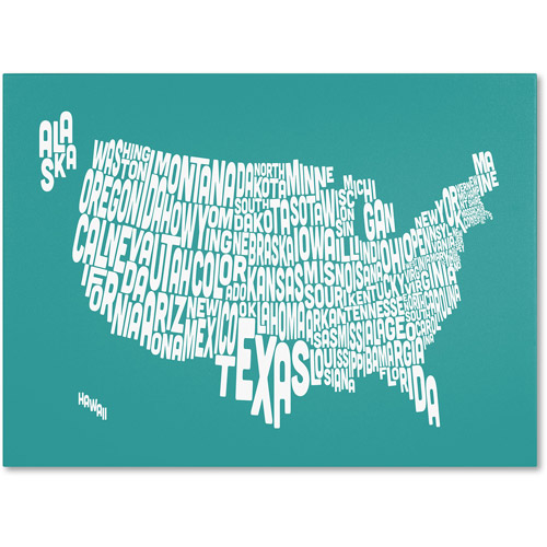 Trademark Art 'TURQOISE-USA States Text Map' Canvas Art by Michael Tompsett