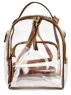 ecc25e35d8211 Product Image Girls Brown Strap Zip Transparent Mini Backpack 10(W) X 5(D). Sophias  Style. Product TitleGirls Brown Strap Zip Transparent ...