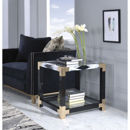 Benzara Modern Style Square Metal and Glass End Table With Bottom Shelf, Black and Gold