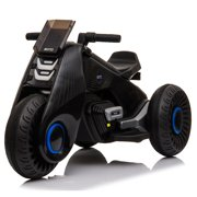 3 Wheels Electric Bicycle, Kids Ride on Motorcycle, Double Drive Motocross, Toddler Motorized Motorcycle Bike, 6V/4.5Ah Power Wheels Dirt Bike for Boys and Girls, 3-7 Years Old - Black, B1901
