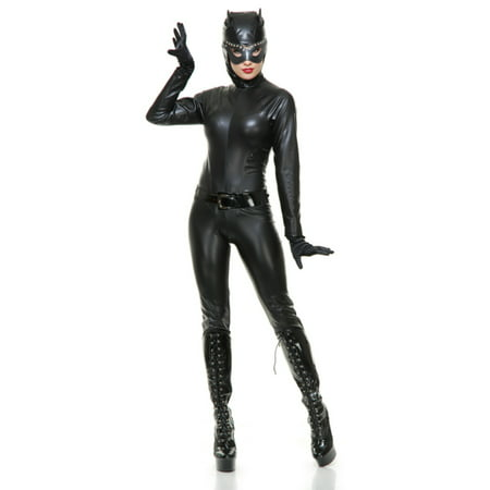 Womens  Wet Look  Black Catsuit With Hood Adults Costume (Womens Cat Suits)