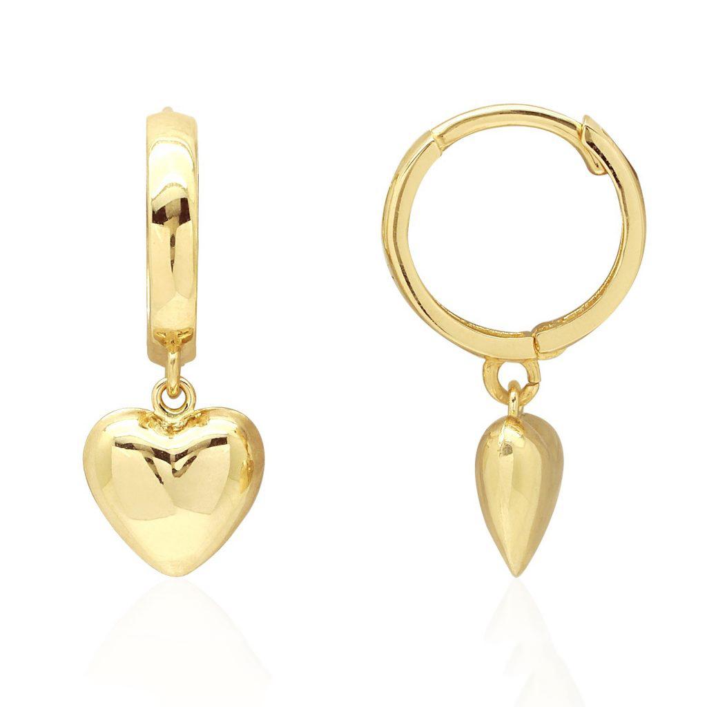 14k Yellow Gold Polished Heart Dangle Drop Huggie Hoop Earrings