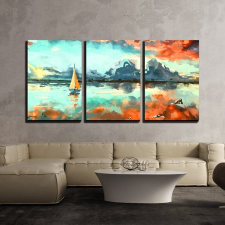 Colorful Original Art - wall26 - Colorful Painting Ocean Sunset - Canvas Art Wall Decor-24 x36 x3 Panels
