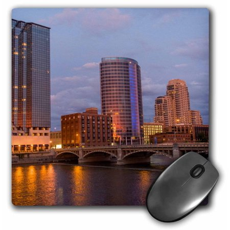 3dRose Skyline at dusk, on the Grand River, Grand Rapids, Michigan. USA - Mouse Pad, 8 by 8-inch - Grand Rapids Halloween Usa