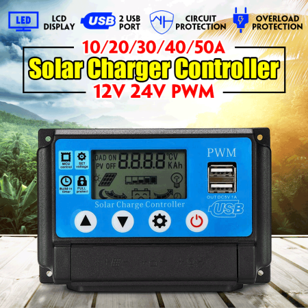 Solar Controller 10A/20A/30A/40A/50A 12/24V PWM Charge Intelligent Battery Regulator Battery Protection Auto LCD Display with USB Port Over-charging Protect Safe Battery Charging Regulator