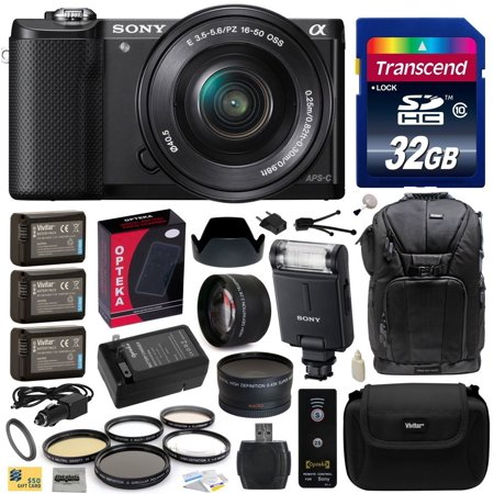 Sony Alpha A5000 20.1 MP Interchangeable Mirrorless Lens Camera with 16-50mm OSS Lens ILCE5000L with Sony HVL-F20M External Flash + 32GB Memory Card + x3 NP-FW50 Battery + Charger + $50 Gift Card