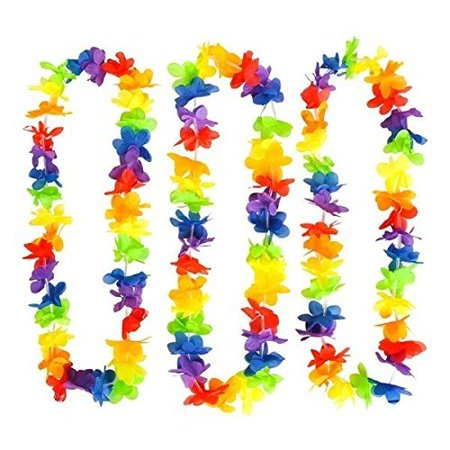 Rainbow Flower Leis, Hawaiian Luau Leis - Cool And Fun Colorful Rainbow Flower Garland - Novelty & Gag Toys, Party Favor, Bag Stuffer, Giveaway, Gift Ideas- By Kidsco - Graduation Ideas For High School