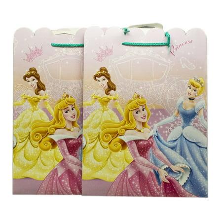 Disney Princess Aurora, Belle, and Cinderella Sparkly Dresses Gift Bags (2pc)
