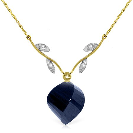 ALARRI 15.27 Carat 14K Solid Gold Never Lonely Sapphire Diamond Necklace with 22 Inch Chain Length.