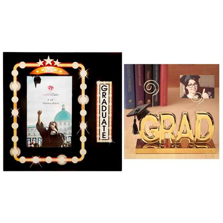 Home Decor Accents Fashioncraft Marquee Design Graduate 4x6 Glass Photo Frame and Fashioncraft Luxurious Golden Grad Picture Clip Holder for $<!---->