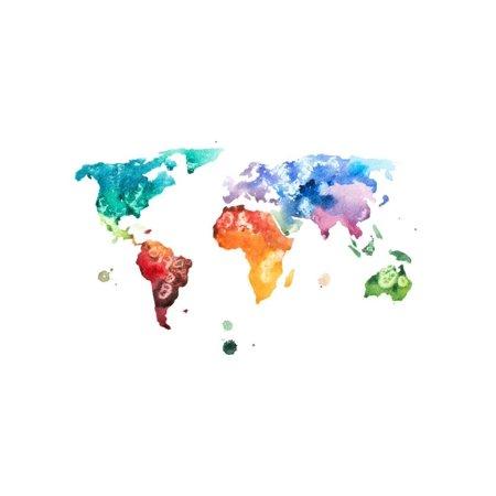 Hand Drawn Watercolor World Map Aquarelle Illustration. Print Wall ...