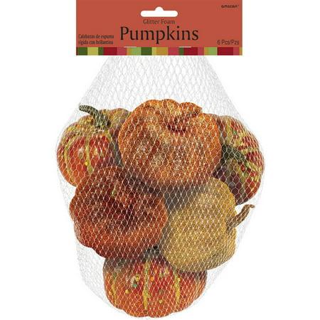 Bag of 6 Mini Decorative Pumpkins