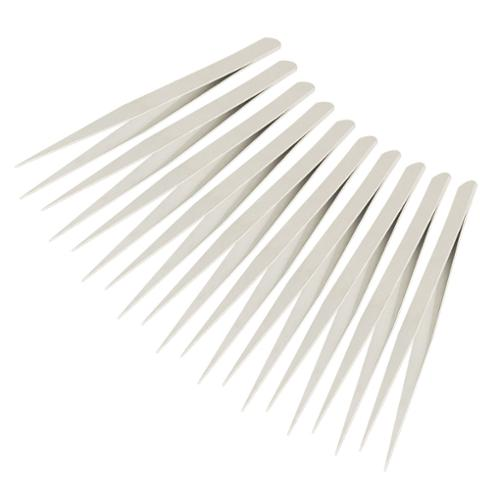 "Unique Bargains 10 Pcs 5.3"" Long Straight Point Tip Metal Tweezer for Hospital"