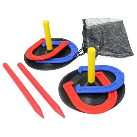 2 Player Kids Horseshoes Game Set Indoor Outdoor With Travel Bag ()