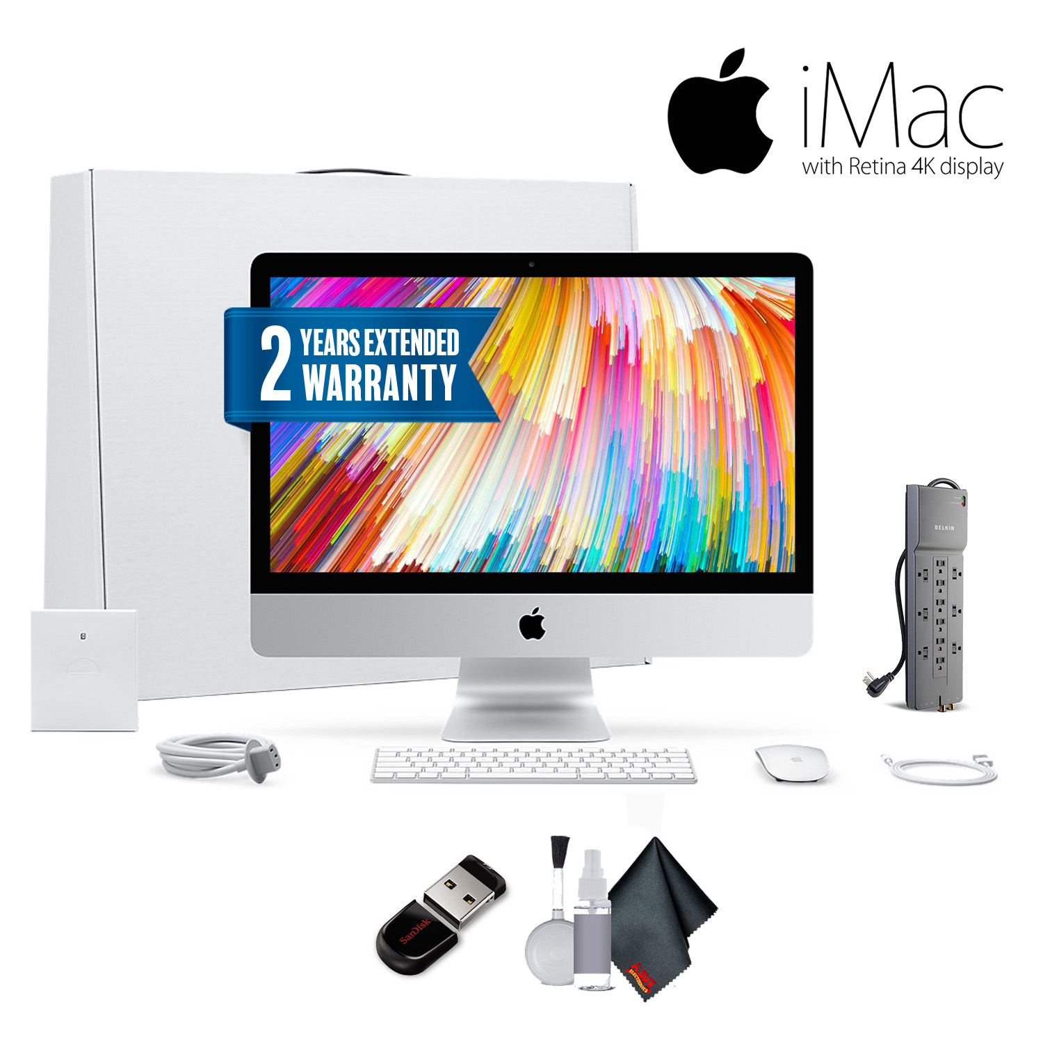 Apple iMac 21.5 Inch, 3.4GHz Intel Core i5, 8GB RAM, 1TB Fusion Drive, Silver Office Bundle With Warranty